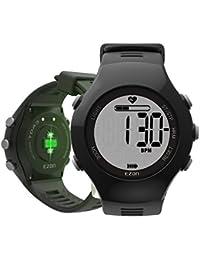 EZON T043A11 Montre numérique sport pour hommes avec capteur optique Moniteur de fréquence cardiaque double alarme podomètre compteur de calories chronomètre