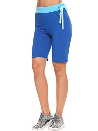 cooshional Short Yoga Slim Taille Moyenne Tissu respirant Élastique Casual Sports Bleu foncé
