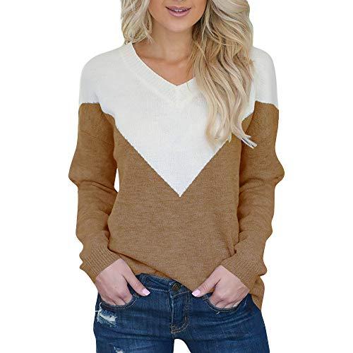 VEMOW Heißer Herbst Winter Elegante Damen Casual Langarm Pullover Sweatshirt Nähen Farbe...