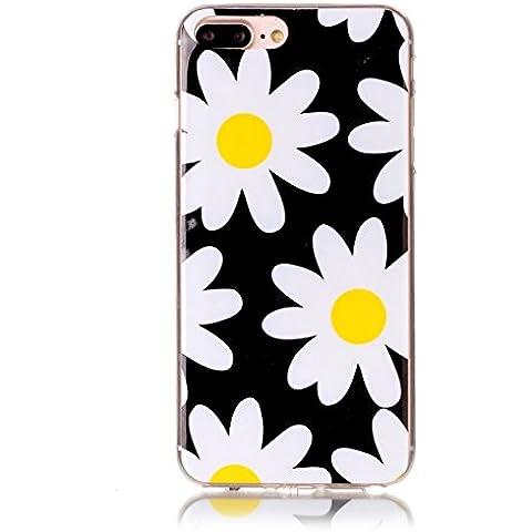 Cover per iPhone 7 Plus Silicone Morbido, Moonmini® Custodia Gomma Morbida Ultra Sottile Scocca Gommosa Ultraslim Soft TPU Gel - White Yellow Daisy Flower in Black
