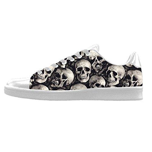 Custom Skull Men s Canvas Shoes Scarpe Lace Up High Top Sneakers a vela panno scarpe Scarpe di tela sneakers c