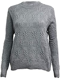8521a356ddf1d9 Miss Trendy Womens Ladies Knitted Crew Neck Cable Knit Pullover Aran Jumper  Sweater UK 10-