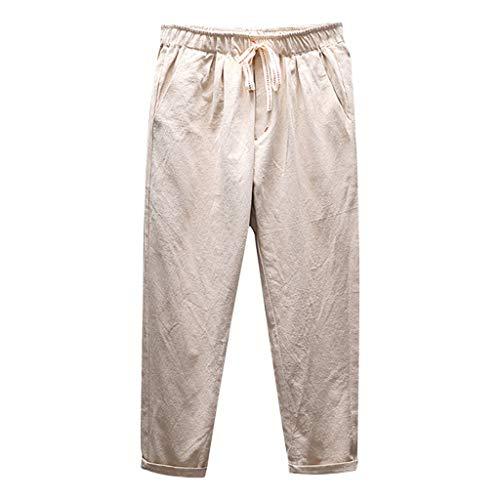 Jogginghose Herren Baumwolle Leinenhose GreatestPAK Leinn Cropped Hosen neu Sommer Mode Freizeithose,Khaki,XXL Schuhe Cropped Pants