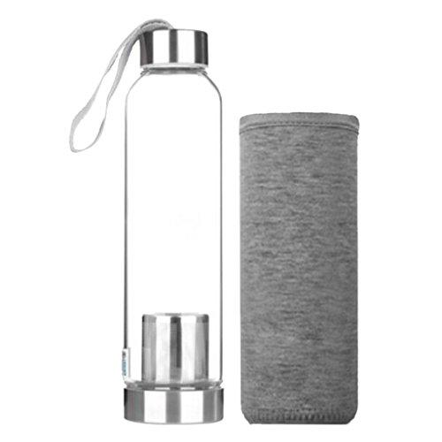 Homyl Glasflasche Trinkflasche Tragbare für unterwegs Sportflasche Glas Wasserflasche zum Mitnehmen von kalten Getränken mit Silikon Tasche und Sieb - Grau, 550ml