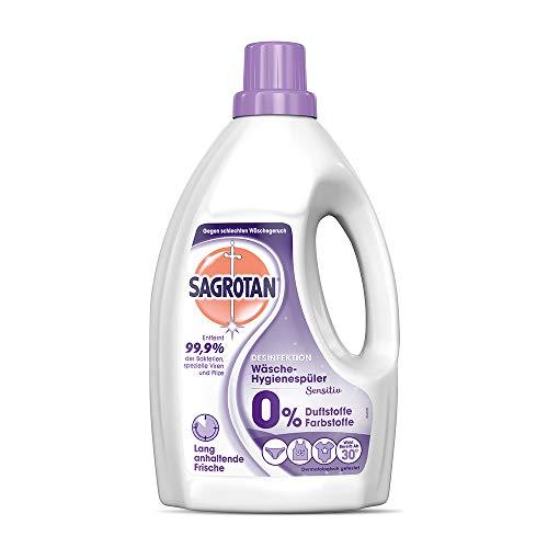 Sagrotan Wäsche-Hygienespüler Sensitiv - Desinfektionsspüler für hygienisch saubere und frische Wäsche - 8 x 1,5 l Reiniger im praktischen Vorteilspack
