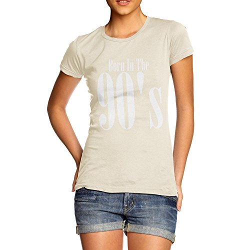 TWISTED ENVY Damen T-Shirt Born In The 90s Print Elfenbein