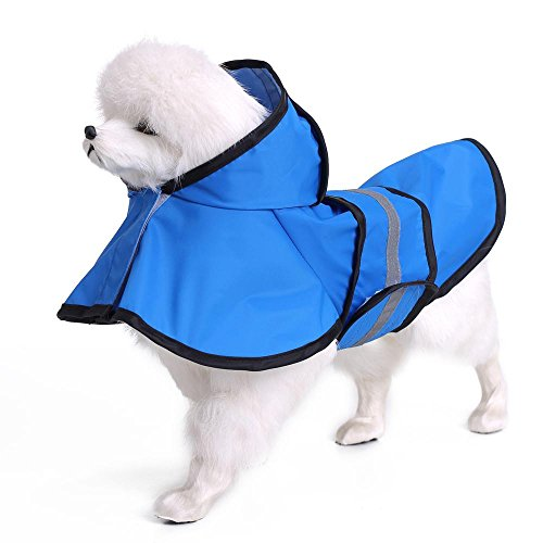 Mode Haustier regnerische Tage Slicker Blue Regenmantel LNAG , (Mode Hut Polizei Kostüm)