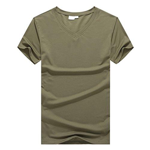 emansmoer Femme Col en V Manches courtes Léger T-shirt été Respirant Sport Quick Dry Wicking Hauts Tee Kaki