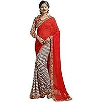 DaFacioun Deep Scarlet Color Saree With Striking Plain Pallu