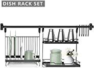 Wall-Mounted Dish Drying Rack, Foldable Dish Rack and Spice Rack Set Kitchen Organizer with Drainboard, Rail R