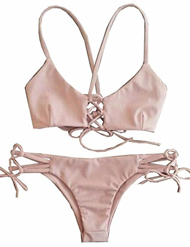Damen Sexy Split Badeanzug Swimwear Bikini Push Up Bandeau Neckholder Brustpolste Cups Strand Bademode Swimsuit Tankini Beachwer High Waist Hohe Taille Shorts Oberteil Tops und Bottoms Set Rosa