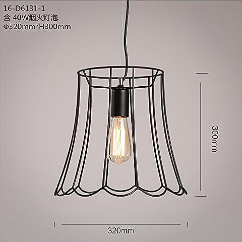 QWER Il Nordic retrò Cafe Grill Lounge Edison lampadina lampadari in ferro ,16-D6131-1 con lampadina pirotecnico 1