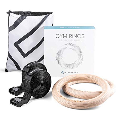 STRONGEAR® Gym Rings - Premium Turnringe aus Holz mit Tasche und Trainingsanleitung - 4cm breite Gurten Längen-Markierungen, olympische Gym-Ringe Fitness-Ringe, Calisthenics, CrossFit, Gymnastik-Ringe -