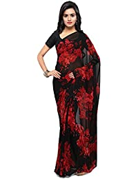 Four Seasons Women's Faux Georgette Saree With Blouse Piece (Fsp207_Black & Red)