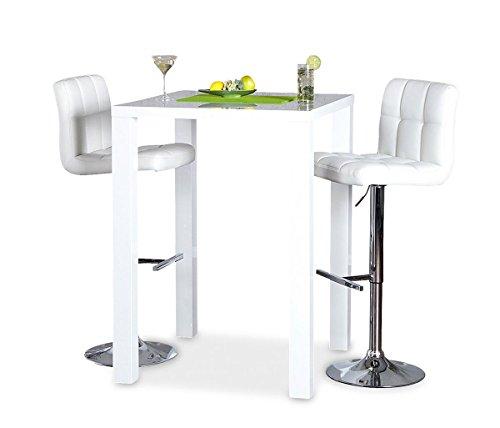 levandeo Bar-Tisch Tresen Küchentisch Weiß Hochglanz Stehtisch Bartresen Esstisch Ablage Küche 105x80x80cm - 2