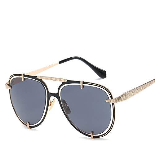 DURIAN MANGO Herren Sonnenbrille Metall Doppelring Hohl Sonnenbrille,Black