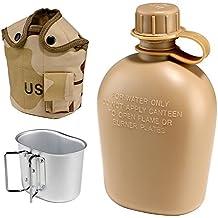 1L botella de agua cantimplora Militar Táctico soldado aluminio estilo ejército bebida botella de agua con bolsa de cubierta de la taza de camping y aislamiento