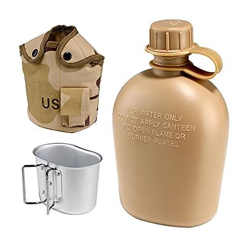 1L-US Militär Kantine Tactical Wasser Flasche G.I. Style Aluminium Army