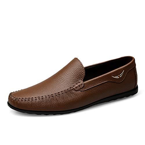 Männer Casual Shoes Leder Frühling/Sommerknall/Herren Erbsen Schuhe Loafers & Slip-Ons Breathable/Trend Driving Shoes,C,38 -