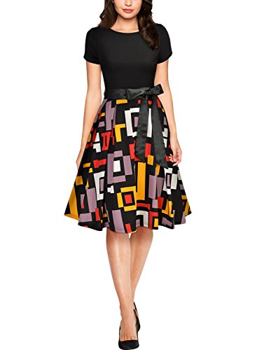 MIUSOL Damen Sommer Casual Kleid Runhals Unregelmassig Patterned Rocke Party Abendkleid Mit G¨¹rtel Schwarz XL -
