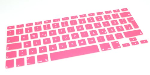 Akkupanda (deutsches Tastaturlayout, QWERTZ) Farbe Pink Tastatur Silikon Skin Cover für Apple MacBook Air (13) und Macbook Pro (13, 15, 17) Zoll Laptop-Computer