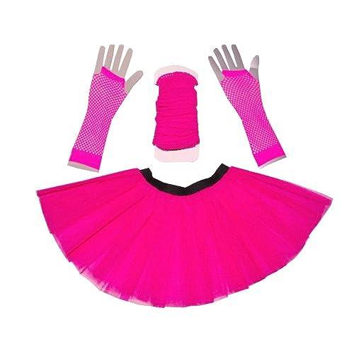 Just 4 Fun Leisurewear Neon Pink 3 Layer Tutu Set, Leg Warmer & Fishnet  Gloves Size 8 To 16
