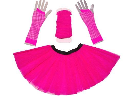 Just-4-Fun-Leisurewear-Neon-Pink-3-Layer-Tutu-Set-Leg-Warmer-Fishnet-Gloves-Size-8-To-16