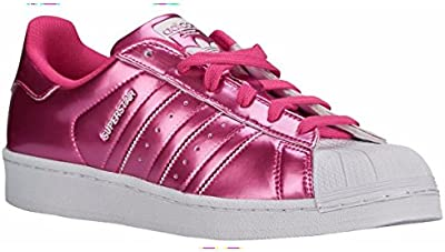 adidas Originals Superstar Mujeres Shell Entrenadores del dedo del pie zapatos de Rosa Brillo / blanco