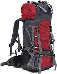 lokep Unisex 60L grande resistente al agua senderismo mochila al aire libre bolsa de deporte bolsa de viaje mochila montañismo marco interno mochila senderismo mochila para viajar senderismo Camping Escalada, color rojo, tamaño mediano, volumen liters 60.0
