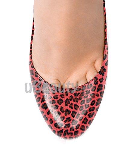 uBeauty - Scarpe da Donna - Leopardo Scarpe col Tacco - Classiche Scarpe col Tacco - Sexy Tacchi alti - Punto rotondo Rosso
