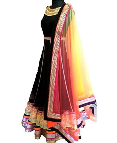 Zombom Women\'s Net Anarkali Salwar Suit (ZBMDADN-VV-1122_Black_Free Size)