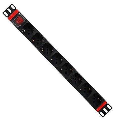 WP WPN-PDU-I01-08 Unité de distribution d'énergie (PDU) de base, 1,5U, horizontal/vertical, 250V, 16A, type F (Schuko) Noir