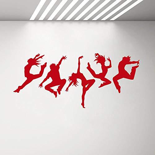 Modeganqingg Adesivo da Parete in Vinile con Silhouette di Persone Che Ballano Adesivo per Danza murale Ragazzo Ragazza Adesivo da Parete per Camera da Letto Rosso 130X57 CM