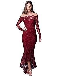 09b2cee1c4f00a Vestito Pizzo Donna Elegante Mode Irregolare Bodycon Abito Senza Spalline  da Sera Vestiti Sirena Cerimonia Abiti
