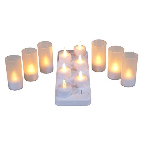 LED-Highlights Deko Kerzen Teelichter gelb flackernd mit Windglas 12 er Set kabellos Akku aufladbar mit Ladestation Stimmungslicht