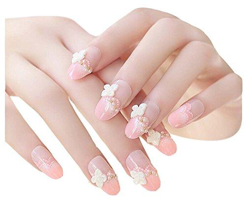 2 Boîtes(48 Pièces) 3D mariage faux ongle/joli style faux ongle, camélia