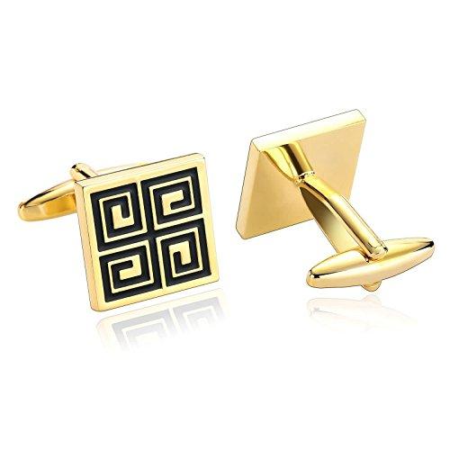 Aeici oro nero gemelli per uomo modello regolare a fondo quadrato 1.6x1.6cm