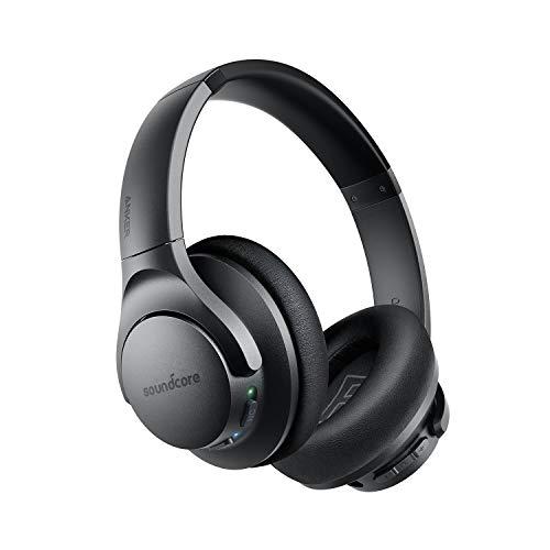 Soundcore Life Q20 Bluetooth Kopfhörer, Aktive Geräuschunterdrückung, 40 Stunden Wiedergabezeit, Hi-Res Audio, Intensiver Bass, kabellose Over-Ear Kopfhörer für Reisen, Arbeit und mehr