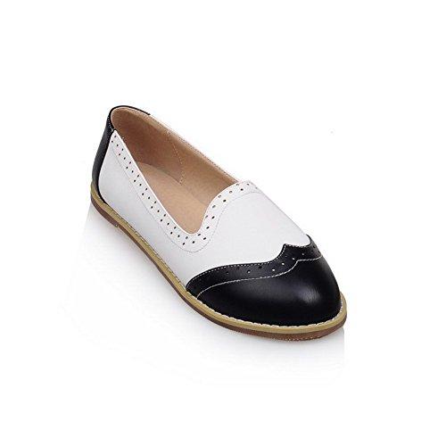 VogueZone009 Femme Couleurs Mélangées Pu Cuir Non Talon Fermeture D'Orteil Rond Tire Chaussures à Plat Noir
