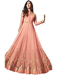 Viha Women's Georgette Embroidered Pink Semi-stitched Anarkali Salwar Suit