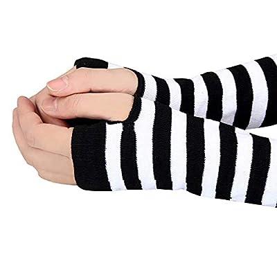 SONGYANG Handschuhe Gestreifte Finger Baumwolle Lange Handschuh weiß Winter Handgelenk Arm Handwärmer Gestrickte gestreifte Fingerlose Handschuhe Mitten