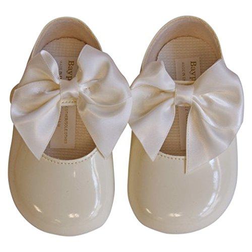 aby Mädchen niedlich dekorativen spanischen Stil großen Bogen Taufe Parteien besondere Anlässe Schuhe (EU 17 (0-3 Monate), Creme/Elfenbein) (Mädchen Anlass Schuhe)
