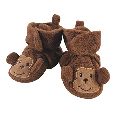 Hudson baby Unisex Cozy Fleece Booties with Non Skid Bottom, Brown Winter Accessory Set
