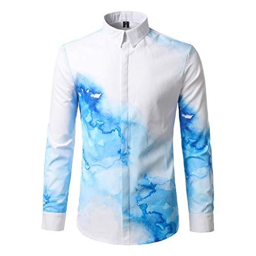 Hawaii-Print 3D Reise Hawaiihemd für Herren Button Turn-Down Collar Langarmshirt Sommer Casual Hemden Freizeit Hemd -