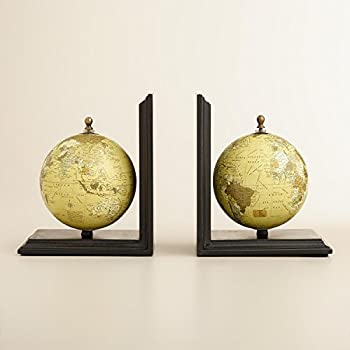 M&M Vintage Globe Bookends for Office, Kitchen, Living Room, Home Decor and Gift Item - 8 Inch