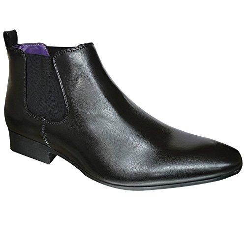 Xelay scarpe da uomo a punta in pelle foderato chelsea casual smart biker stivaletti taglia uk, nero (nero), 40
