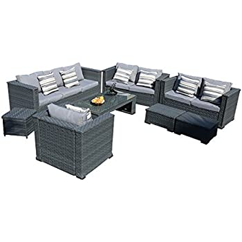Amazon.de: yakoe 50181 Monaco 8 Sitzer Luxus Rattan Gartenmöbel ...
