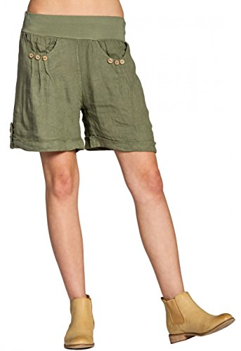 Caspar bst002da donna lino pantaloncini, Olive Green,