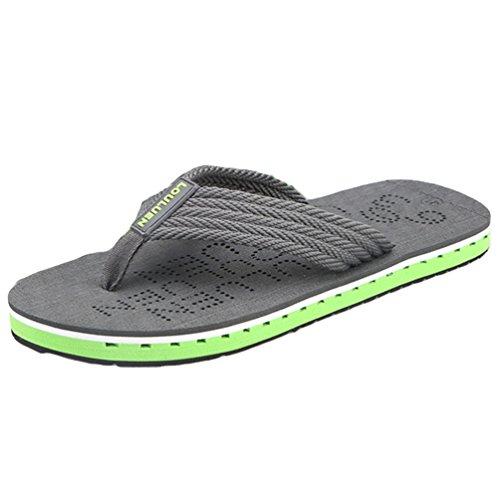 Yiiquan Herren Strand Schuhe Sommer Zehentrenner Flach Slipper Flip-Flops Dunkelgrau #1