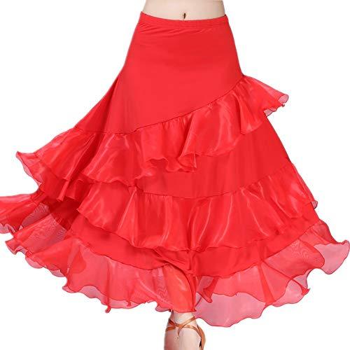 Maritown Frauen Latin Dance Rock, Elegante Damen Dance Dress Latin Salsa Cha Cha modernen Ballsaal Tango Walzer Rock Dancewear Long Swing Rock Wettbewerb Tanz Kostüm (Ballsaal Tanz Kostüme Billig)